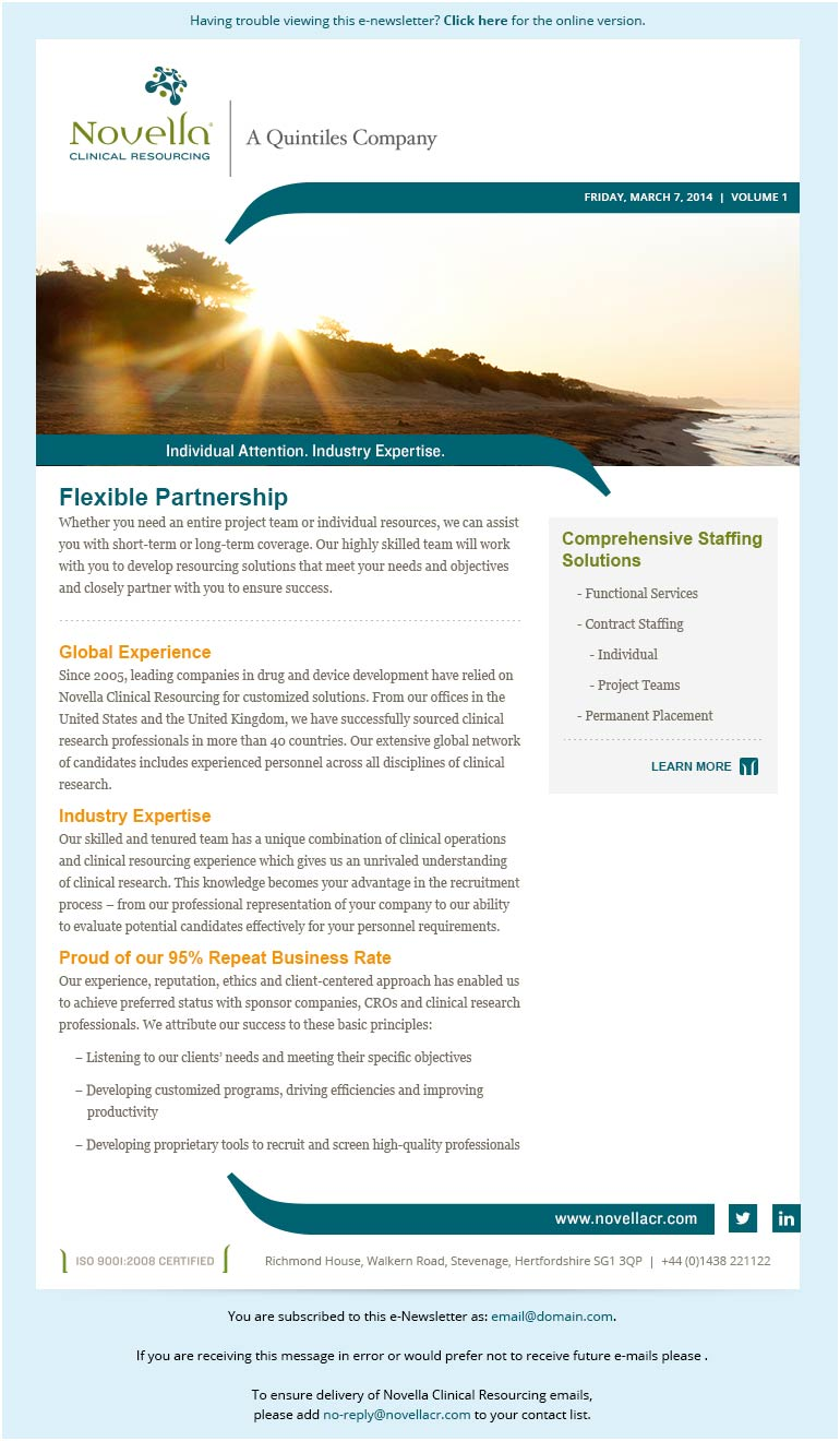 Novella Clincal Resourcing Email Template